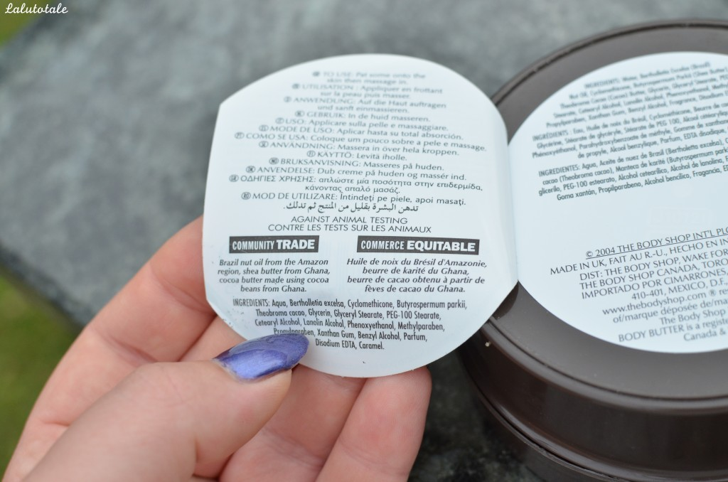 Beurre corporel The Body Shop noix du Brésil