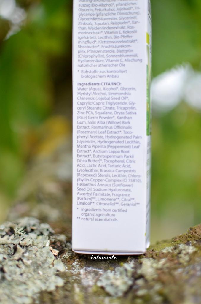 lavera fluide lissant à la menthe bio composition