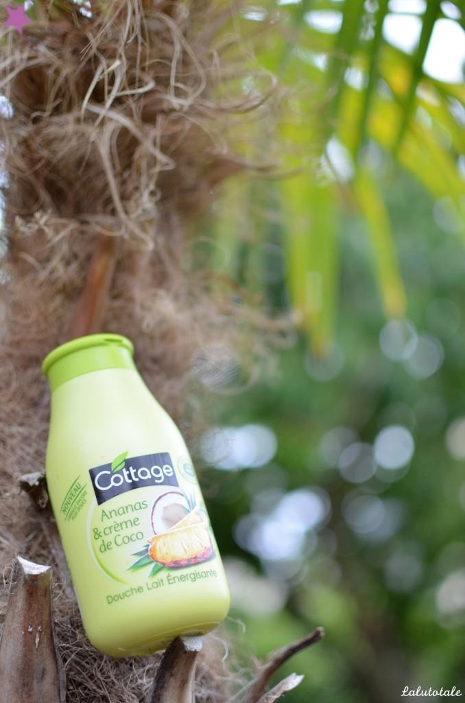 review nouveauté 2015 COTTAGE ananas et crème de coco lait douche