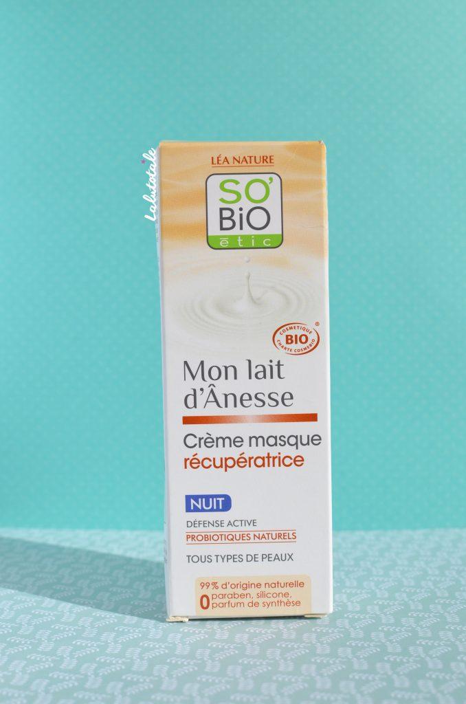 crème-masque récupératrice nuit So'Bio Etic ânesse