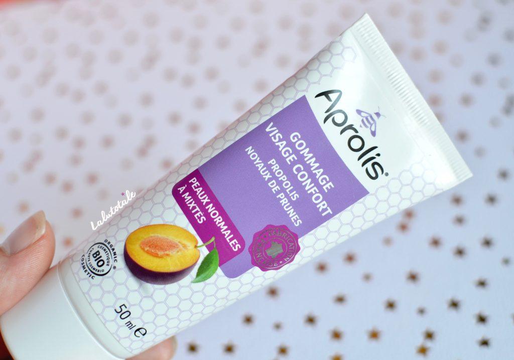 Aprolis gommage visage confort bio propolis noyaux prunes