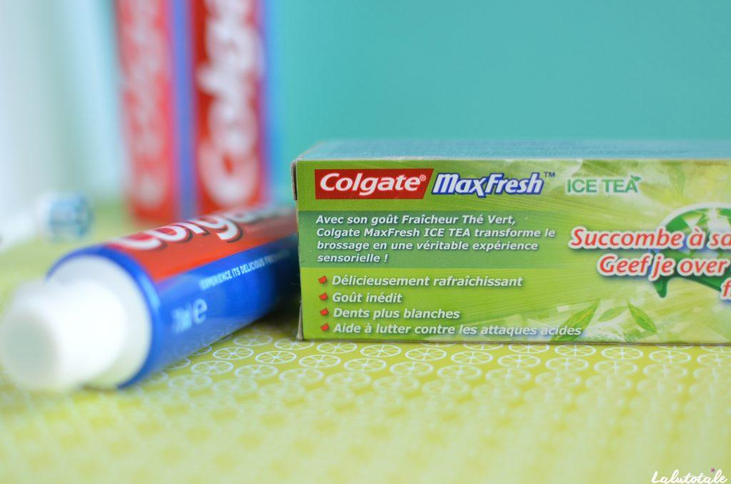 dentifrice colgate MaxFresh Ice tea fluor avis thé vert