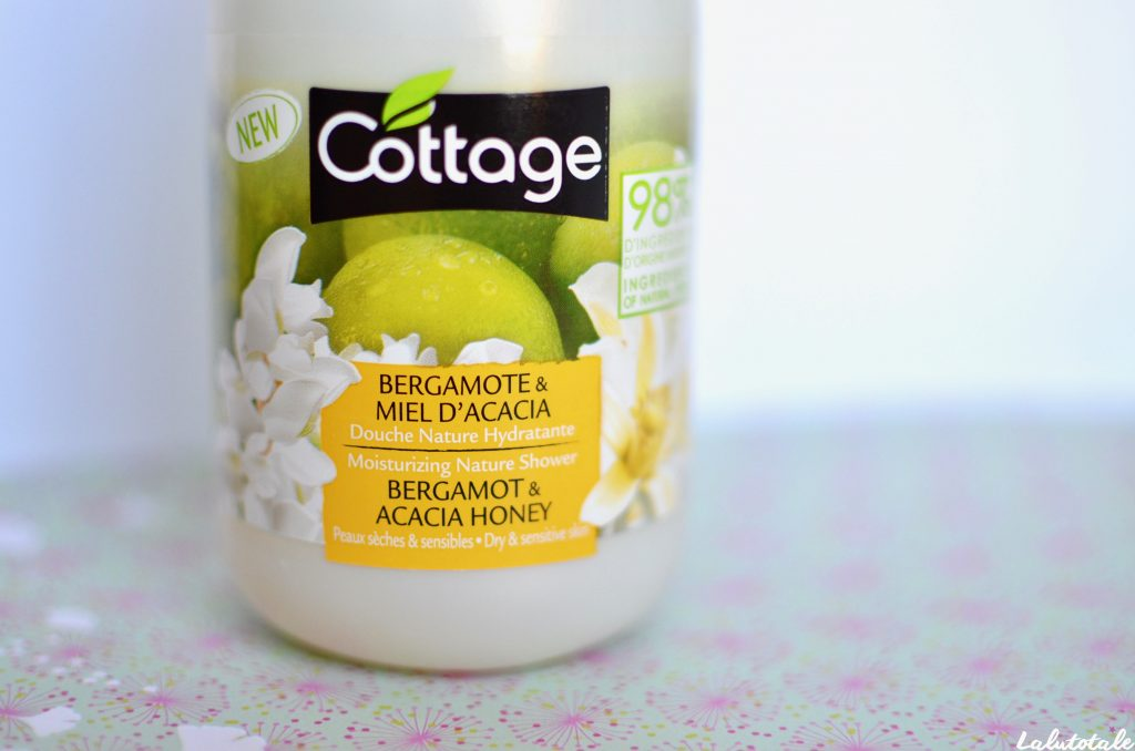 Cottage miel acacia bergamote gel douche hydratant