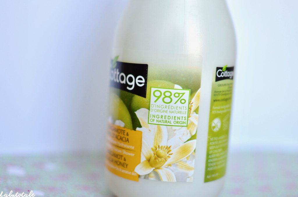 Cottage miel acacia bergamote gel douche hydratant