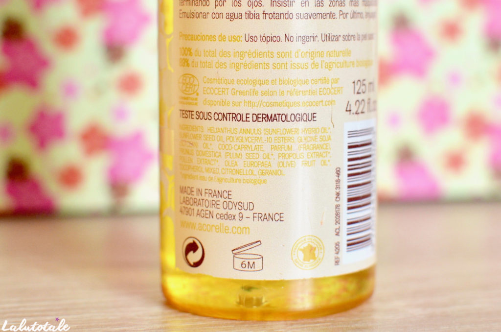 Acorelle huile démaquillante prune bio biologique