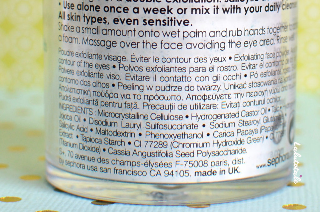 poudre métamorphose Séphora gommage visage exfoliante
