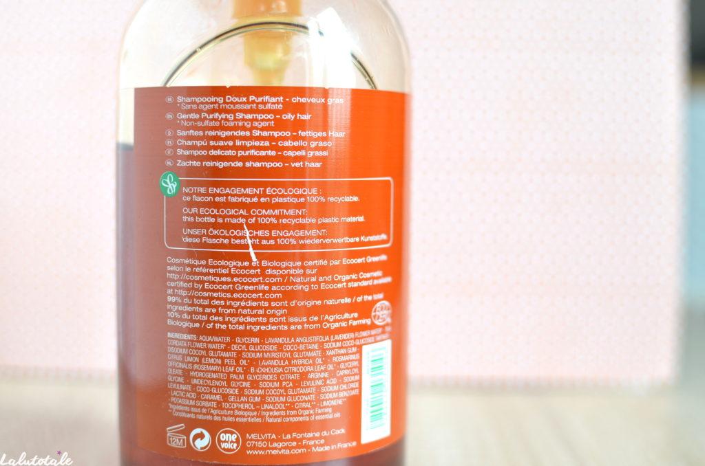 Melvita shampooing doux purifiant cheveux gras citron romarin