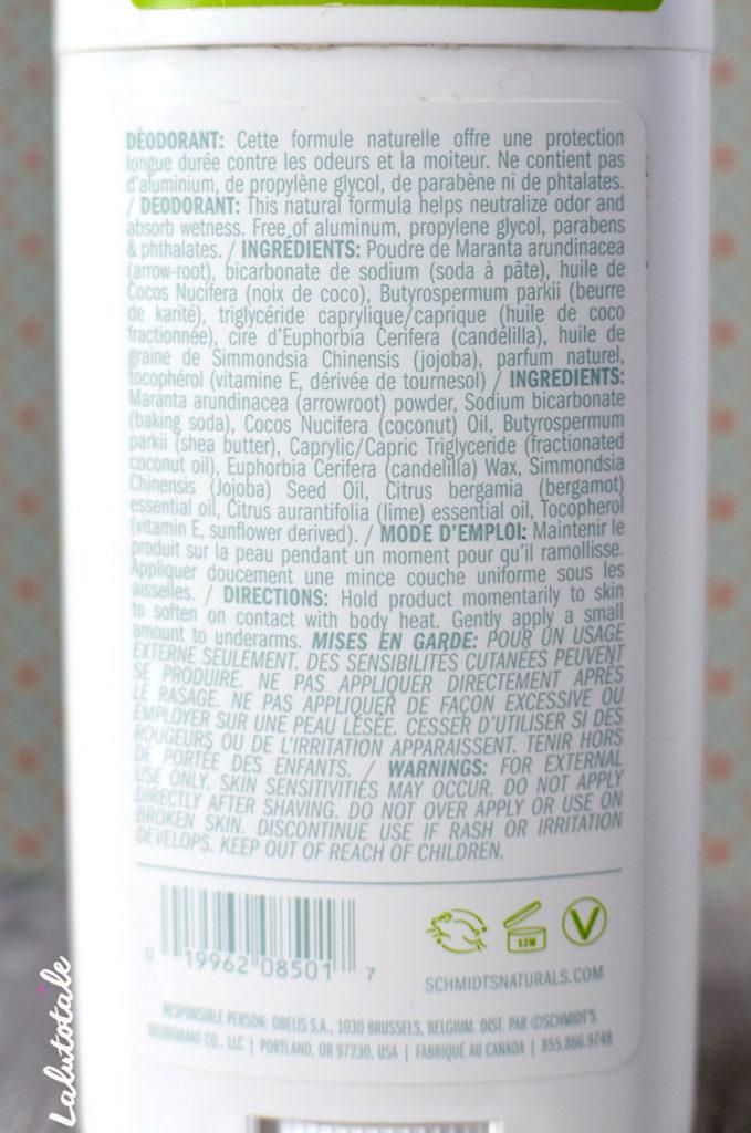 vérité déodorant Schmidt's déo naturel bergamote citron