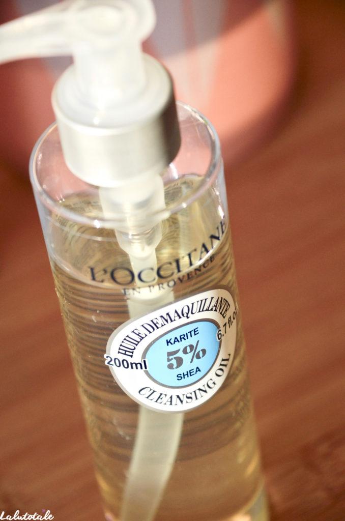 L'occitane huile démaquillante karité visage