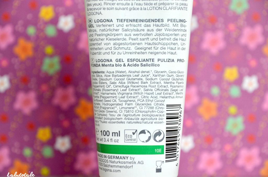 logona visage gel gommant nettoyant menthe acide salicylique beauté